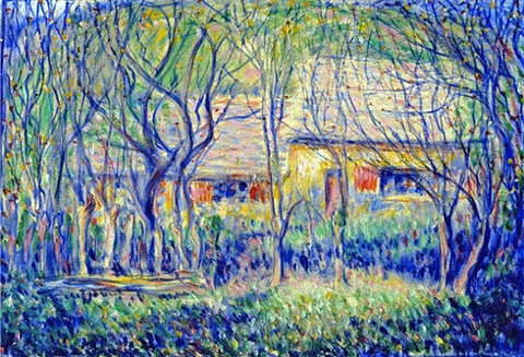 untitled - buildings and trees - old farm - toulgouat house by theodore earl butler