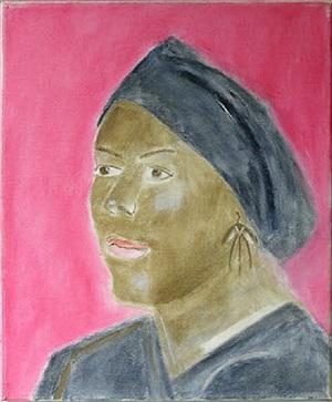 portrait of naaotwa with black headdress by craigie aitchison