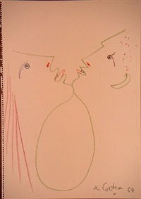 man and woman chin to chin by jean cocteau