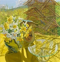 birdcage and daffodils by janet fish