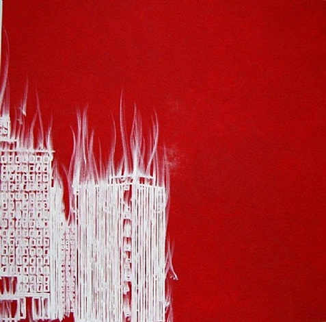 not yet titled (century city burn 3) by gary simmons