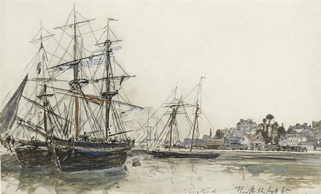 bateaux en rade de honfleur by johan barthold jongkind