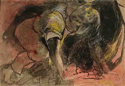 miner crouching by graham sutherland