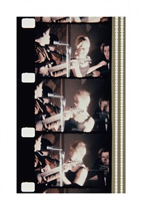 lou reed and edie sedgwick at the first public performance of the velvet underground, new york society of clinical psychiatry 43rd annual dinner, delmonico hotel, january 13, 1966 by jonas mekas