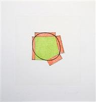 untitled (green ellipse / orange broken frame) by robert mangold