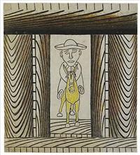 untitled (man riding yellow donkey) by martin ramirez
