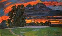 serena's tree: red sky by graham nickson
