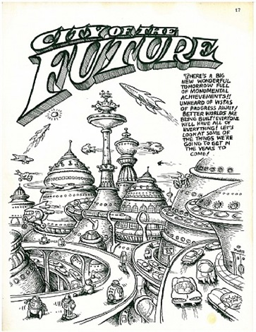 city of the future complete five page story original artwork from zap 0 by robert crumb