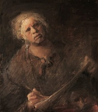 self portrait with child's skull by odd nerdrum