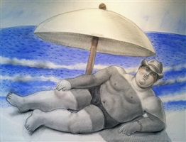 man at the beach by fernando botero