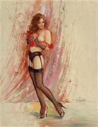 pin-up in garter belt by ed tadiello
