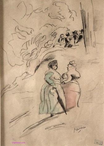deux femmes debout conversant by jules pascin