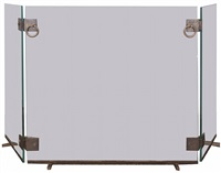a rare fireplace screen by jacques adnet, france, circa 1930s by jacques adnet