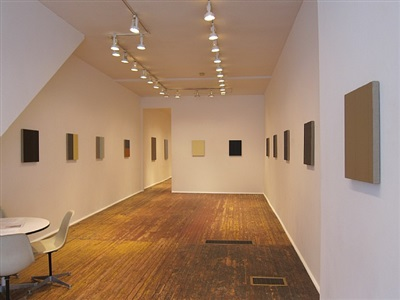 installation view into front room of solo exhibition by jon poblador