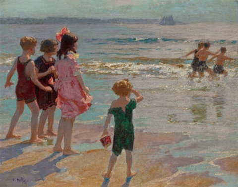children at the shore by edward henry potthast