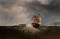 shipping off the coast in stormy sea, ny by charles temple dix