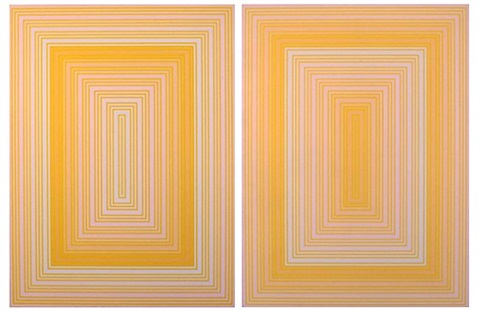 on yellow - warm rectangle & on yellow - cool rectangle by richard anuszkiewicz