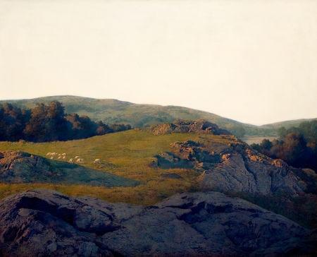 sheep pasture, cornish, new hampshire by maxfield parrish