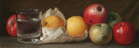 apples, lemons, and water glass by peter baumgras