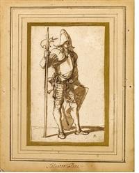 a standing halberdier by salvator rosa