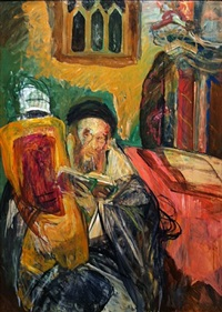 rabbi holding torah by hyman bloom
