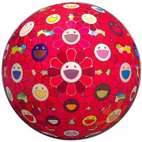 flower ball red cliff (3-d) by takashi murakami