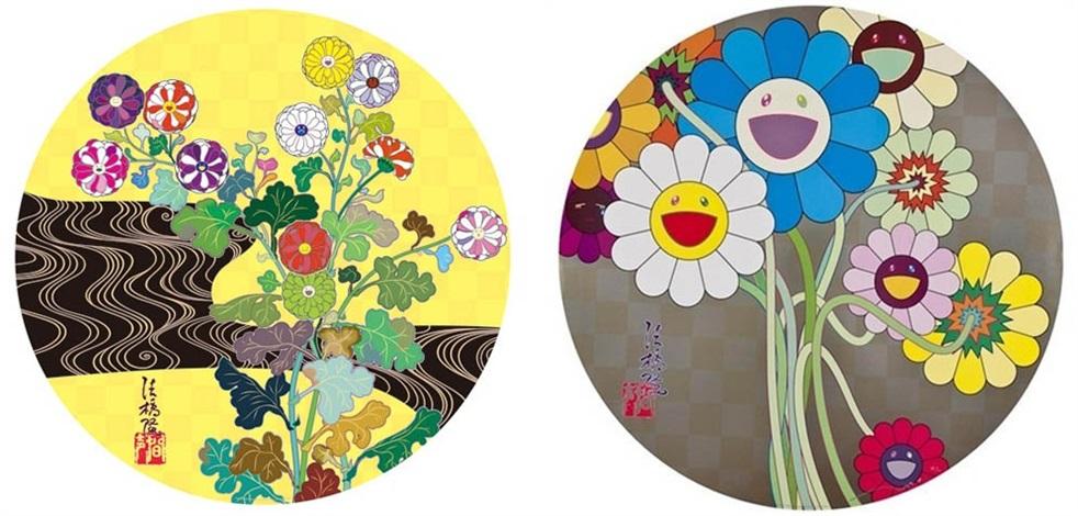 kansei korin gold (+ flowers for algernon; 2 works) by takashi murakami
