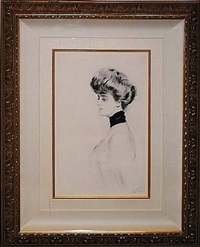 woman with scarf, facing left by paul césar helleu