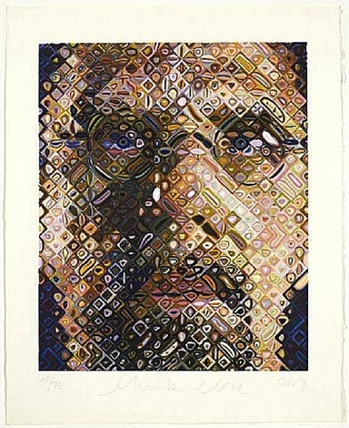 self-portrait, woodcut by chuck close