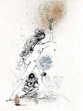 ronsard suite: woman with torch by salvador dalí