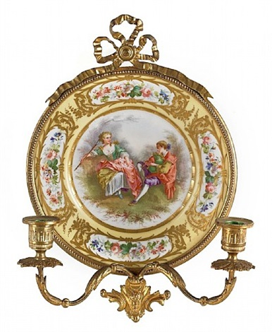 lot no. 97: sevres type porcelain plaque