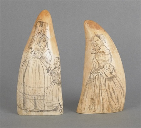 lot no. 361: two scrimshaw whale teeth decorated with victorian women
