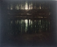 moonrise; mamaronek, new york (aka: the pond) by edward steichen