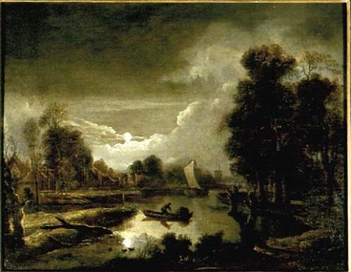 moonlit landscape by aert van der neer