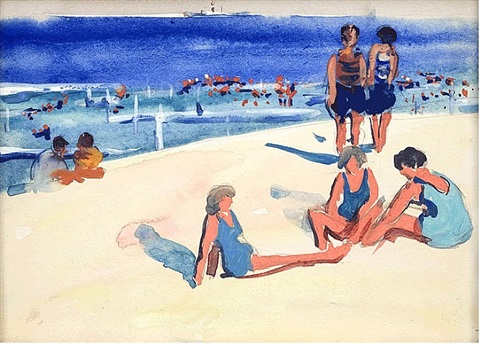 beach scene with umbrellas by jane peterson