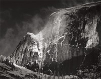 half dome, blowing snow, yosemite national park, california, pl.9 (from portfolio vii) by ansel adams