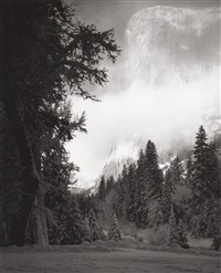 el capitan, sunrise, winter, yosemite, pl.10 (from portfolio vii) by ansel adams