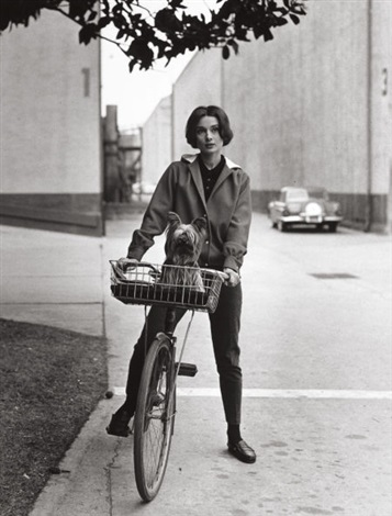 audrey hepburn on her bike at paramount studios press print by sid avery