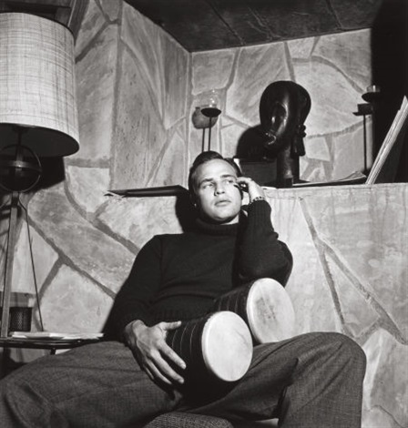 marlon brando at home with bongos by sid avery