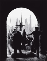 men unloading coffee, brooklyn dock (view of downtown manhattan in background), new york by andreas feininger
