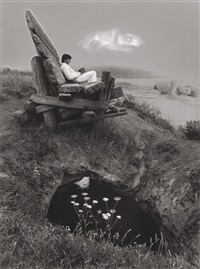 untitled (man on large bench, woman in water) by jerry uelsmann