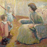 monet's daughter, suzanne, and her children by theodore earl butler