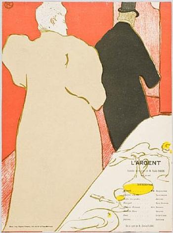 un monsieur et une dame, programme pour l'argent by henri de toulouse-lautrec
