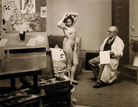 matisse with his model by brassaï