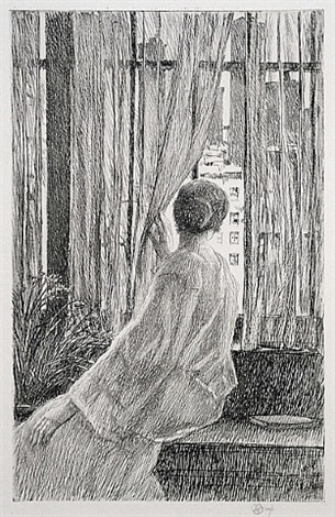 marie at the window by childe hassam