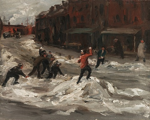 children throwing snowballs by george benjamin luks