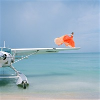 saori on sea plane wing, dominican republic by rodney smith