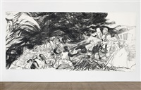sketch for an american comic opera with 20th century race riots by kara walker