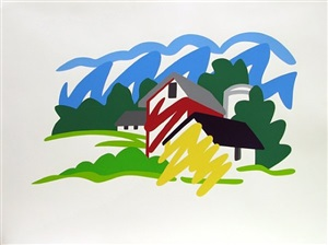 house and barn in the distance by tom wesselmann
