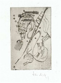 "etching for stephen spender ""fraternity"" by wassily kandinsky"